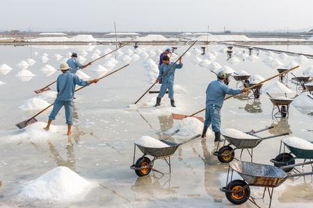 hon: NHA TRANG, VIETNAM - 4122016: Workers make salt piles at the Hon Khoi salt fields in Nha Trang, Vietnam. Editorial