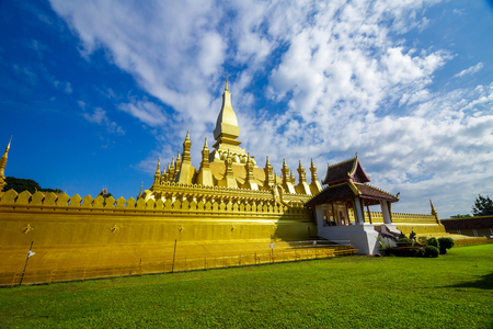 Golden pagoda at Pha That Luang, a Buddhist temple in Vientiane, Laos Editorial