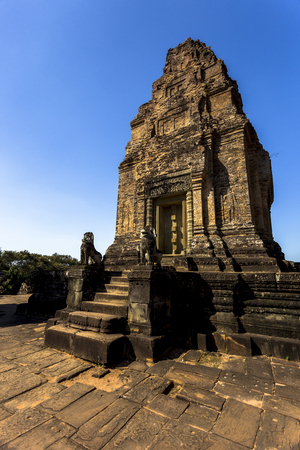 East Mebon Angkor Wat Siem Reap Cambodia South East Asia is a 10th Century temple at Angkor, Cambodia. Built during the reign of King Rajendravarman, it stands on what was an artificial island at the center of the now dry East Baray reservoir Stock Photo