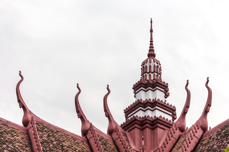 Tourism Khmer style roof architecture in  Phnom Penh, Cambodia, Asia.