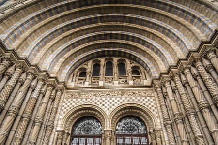 Main door of Natural history museum london diffused light from cloudy winter day