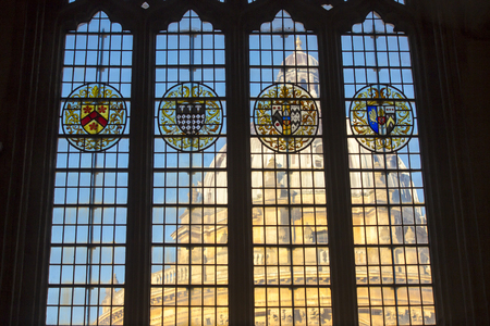 Stained glass at University church of St. Mary the Virgin overlooking Radcliffe Camera in Oxford, England, United Kingdom, Europe. Editorial