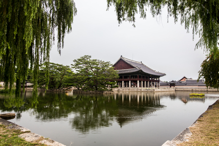 Historical building on lake at Gyeongbokgung Palace in Seoul South Korea Asia Editorial