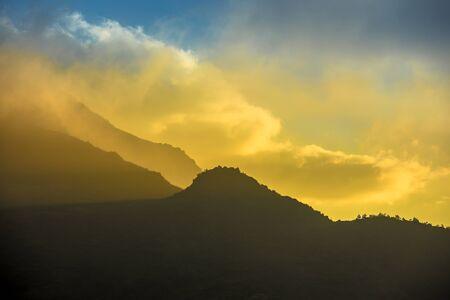 Sunrise dawn sunset dusk hillside terraced fields scenery of beautiful Sapa Vietnam Asia