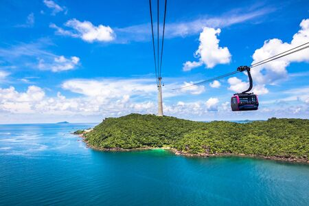 Funicular sky cable car in Phu Quoc island ith blue sky and clear water in Southern Vietnam Indochina