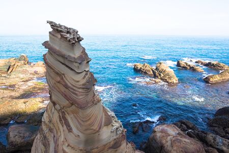 Taiwan Nanya is noted for its fantastic rock formations and sea-eroded coral shore Stock Photo
