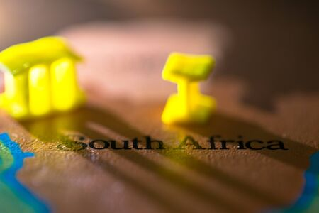 Geographical map location of country South Africa in Africa continent 版權商用圖片