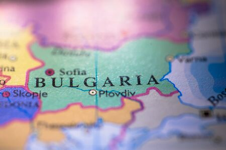 Geographical map location of country Bulgaria in Europe continent on atlas