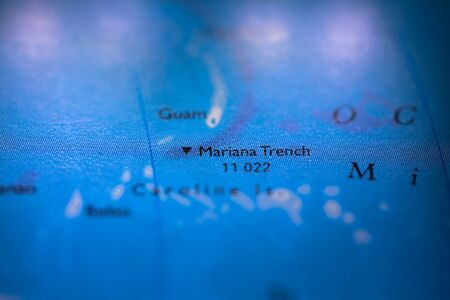 Geographical map location of Mariana Trench off coast of Philippines Pacific Ocean on atlas
