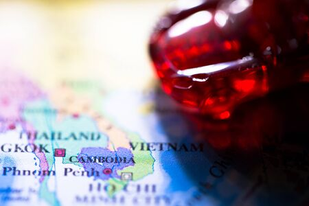 Geographical map location of country Cambodia in Asia continent on atlas 写真素材