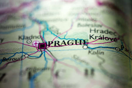 Shallow depth of field focus on geographical map location of Prague city Czech Republic Europe continent on atlas 版權商用圖片