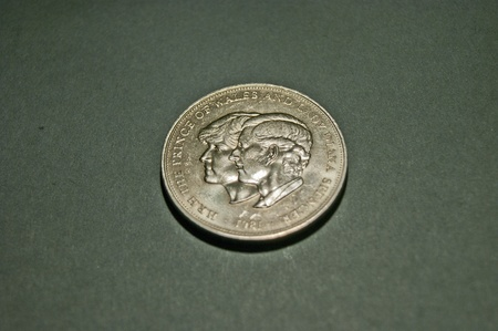 Conjoined heads of Charles   Diana H R H  THE PRINCE OF WALES AND LADY DIANA SPENCER 1981 on a Crown Coin photo