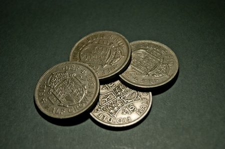 Four Half Crown Coins Stock Photo - 12663658