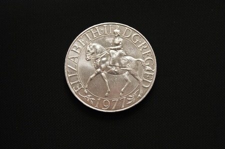 Head side of a 1977 commerative Queen Elizabeth II Silver Jubilee Crown Coin photo