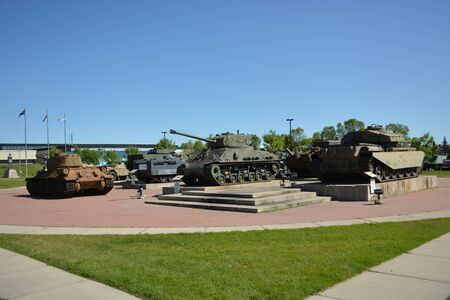 Group of historic war tanks. Used in combat by the military. 版權商用圖片