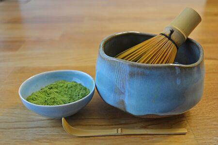 Japanese Matcha Green Tea, Handmade Matcha Bowl, and Accessories Фото со стока