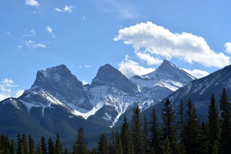 Majestic Three Mountain Peaks of the Rockies