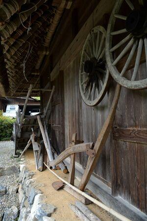Japanese Farm Tools Outside Rural Mountain House Фото со стока