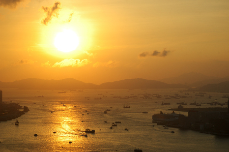 habour: Golden sunset with ship in the habour