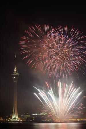 macau: Macau Colorful Firework with landmark Macau Tower Editorial