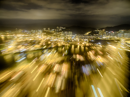Aerial view of Hong Kong Night Scene, Kwai Chung, Victoria Harbour, Stonecutters Bridge