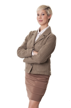 Elegant female professional with a sly smile on white background