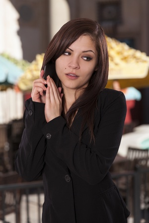 Beautiful business woman does not want the person she Stock Photo