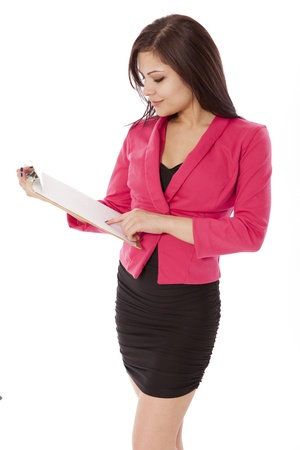 uses: Business woman uses a clip board, isolated on a white background