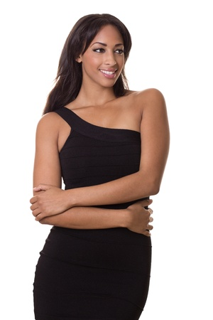 hottie: Multi racial hottie in a tight dress looks to the side