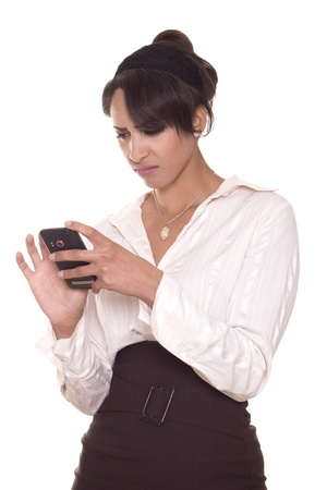 Gorgeous women in business attire is disgusted by what she sees on her phone