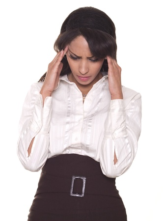 stressing: Beautiful business woman with a head ache  Stock Photo
