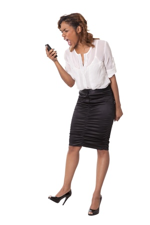 hour glass figure: Attractive young woman yells into her cell phone isolated on white background