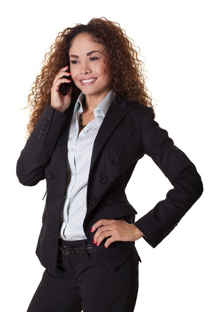 Happy business woman talks on the phone, isolated on a white background   Stock fotó