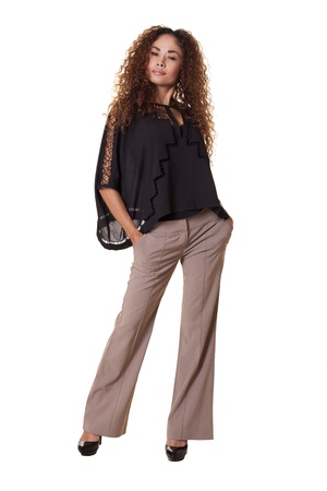 Confident Latino woman standing in fashionable clothes   Stock fotó