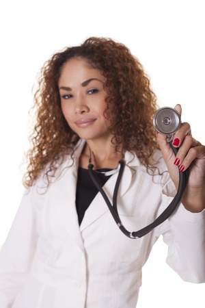 Female Physician presents a stethoscope, isolated on white background