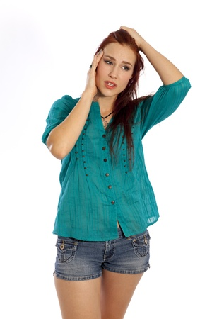 hottie: Woman in summer clothing appears to be very stressed  Stock Photo