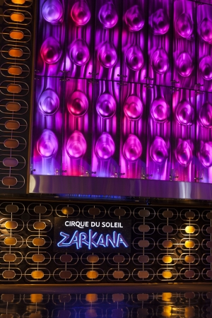 LAS VEGAS - AUGUST 06, 2013 - Zarkana Sign on August 06, 2013  in Las Vegas  The LEDs on the Zarkana light wall, which measures 90 by 40 feet contains more than three million pixels  Stock Photo - 21840410
