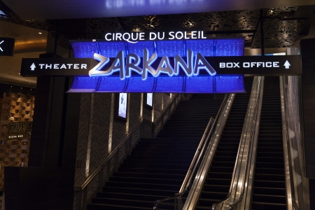 LAS VEGAS - AUGUST 06, 2013 - Zarkana Sign on August 06, 2013  in Las Vegas  The two Eagle's-head bandstands in Zarkana are 28 feet tall and weigh more than 9,000 pounds each  Stock Photo - 21840411