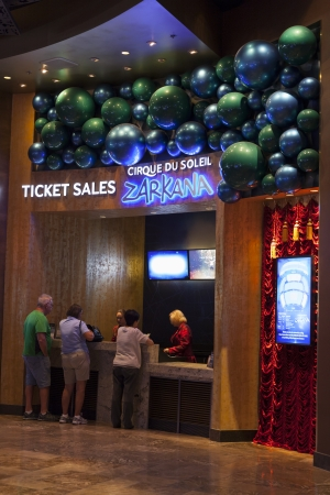 LAS VEGAS - AUGUST 06, 2013 - Zarkana Ticket Booth on August 06, 2013  in Las Vegas  Croatian designer Alan Hranitelj created the costumes for Zarkana  Stock Photo - 21840412