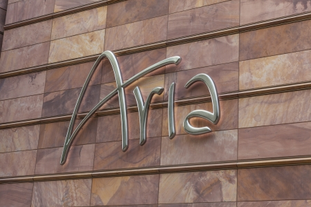 LAS VEGAS - APRIL 27, 2013 - Aria hotel sign on April 27, 2013  in Las Vegas  All rooms have a touch screen system which automatically adjusts curtains, turns off lights and regulates the temperature when a guest enters or leaves the room