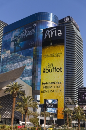 aria: LAS VEGAS - APRIL 19, 2013 - Aria hotel sign on April 19, 2013  in Las Vegas  Aria Debuted the largest LED sign on the strip in April 2013  Editorial