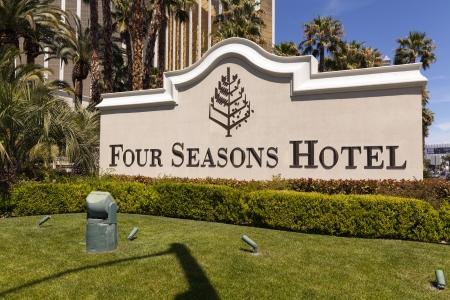 LAS VEGAS - APRIL 19, 2013 - Four Seasons sign on April 19, 2013  in Las Vegas  The top 5 floors of Mandalay bay are occupied by the Four Seasons Hotel  The top 3 floors are penthouses