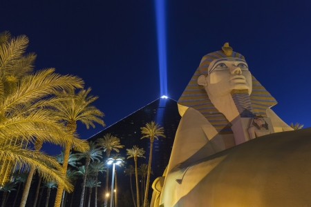 LAS VEGAS - MAY 31, 2013 - Luxor Hotel on May 31, 2013  in Las Vegas, NV  The Luxor Sky Beam is the strongest beam of light in the world at 42 3 billion candela