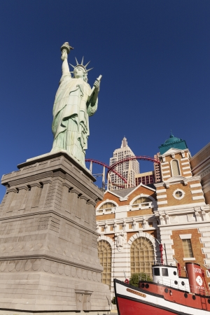 LAS VEGAS - APRIL 19, 2013 - New York Hotel on April 19, 2013  in Las Vegas  The New York hotel statue of liberty is 150 ft tall