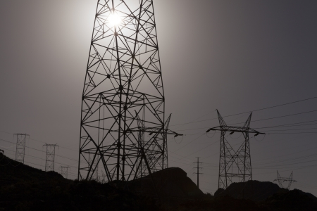 Lattice towers carry power from Lake Mead over mountains and through the desert  photo