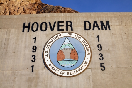 BOULDER CITY - MAY 13, 2013 - Hoover Dam Sign on May 13, 2013  in Boulder City  Hoover dam was constructed between 1931 and 1935, finishing 2 years ahead of schedule  Stock Photo - 21843764