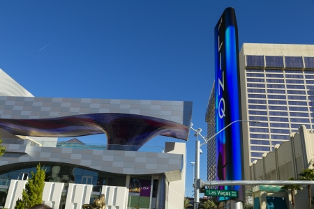 not open: LAS VEGAS - JANUARY 04, 2014 - The Linq Entrance on January 04, 2014  in Las Vegas  Because the High Roller is not open yet, most tourists walk past the newly opened Linq corridor without a 2nd look