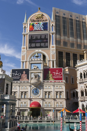 constrution: LAS VEGAS - MAY 12, 2015 - The Venetian began construction on high end condos, pictured top right corner, but halted constrution during the economic down turn.