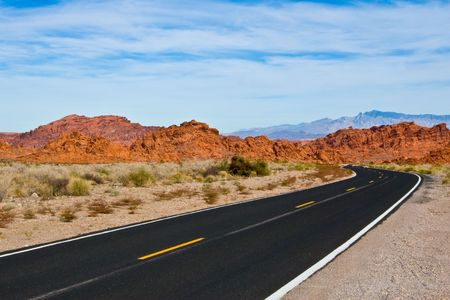 sinuous: The sinuous road going to Valley Of Fire State Park
