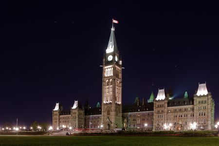 Night shot of the Canadian Parliament photo